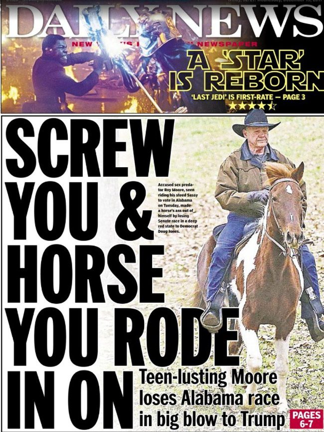 How New York's Daily News saw it Wednesday morning.
