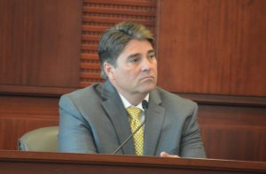 Roy R. Bedard was on the stand for most of the morning. Click on the image for larger view. (© FlaglerLive)