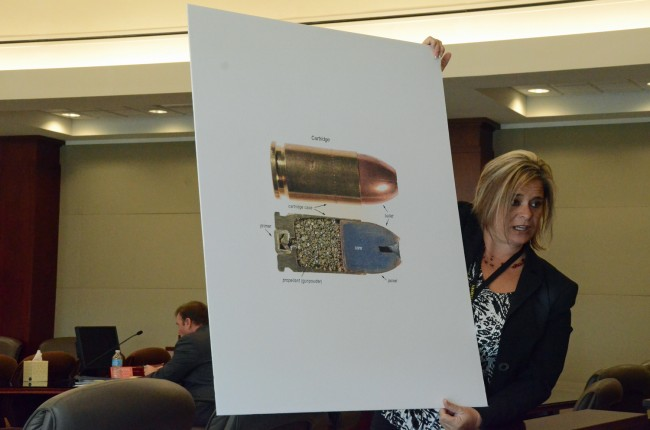 The Paul Miller trial on Wednesday turned to the forensic details of Dana Mulhall's killing. Assistant State ASttorney Jacquelyn Roys displayed one of the images of a bullet to be used in the trial. (c FlaglerLive)