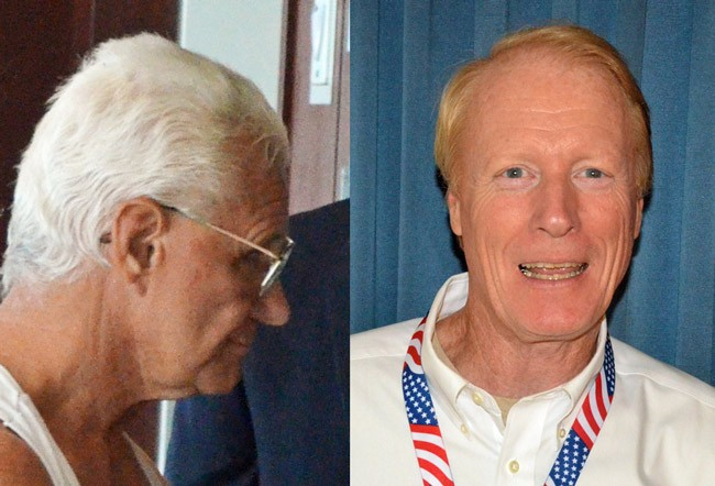 John Ruffalo, left, and Dennis McDonald, are ranking members of the Ronald Reagan Republican Assemblies of Flagler County. They have been on a losing streak in their efforts against local governments. (© FlaglerLive)