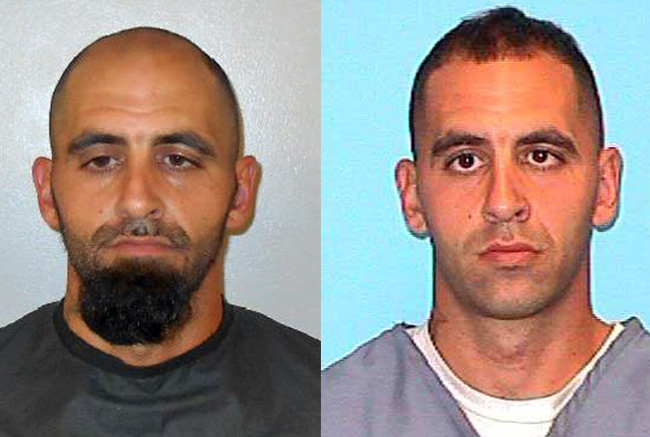 Ryan Giovine in his latest booking photo at the Flagler County jail, left, and in his state prison booking photo.