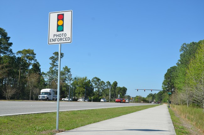 Not going away:  the  red-light camera at Rymfire and  Belle Terre Parkway, targeting northbound traffic, is one of the five that will remain until 2017. (c FlaglerLive)