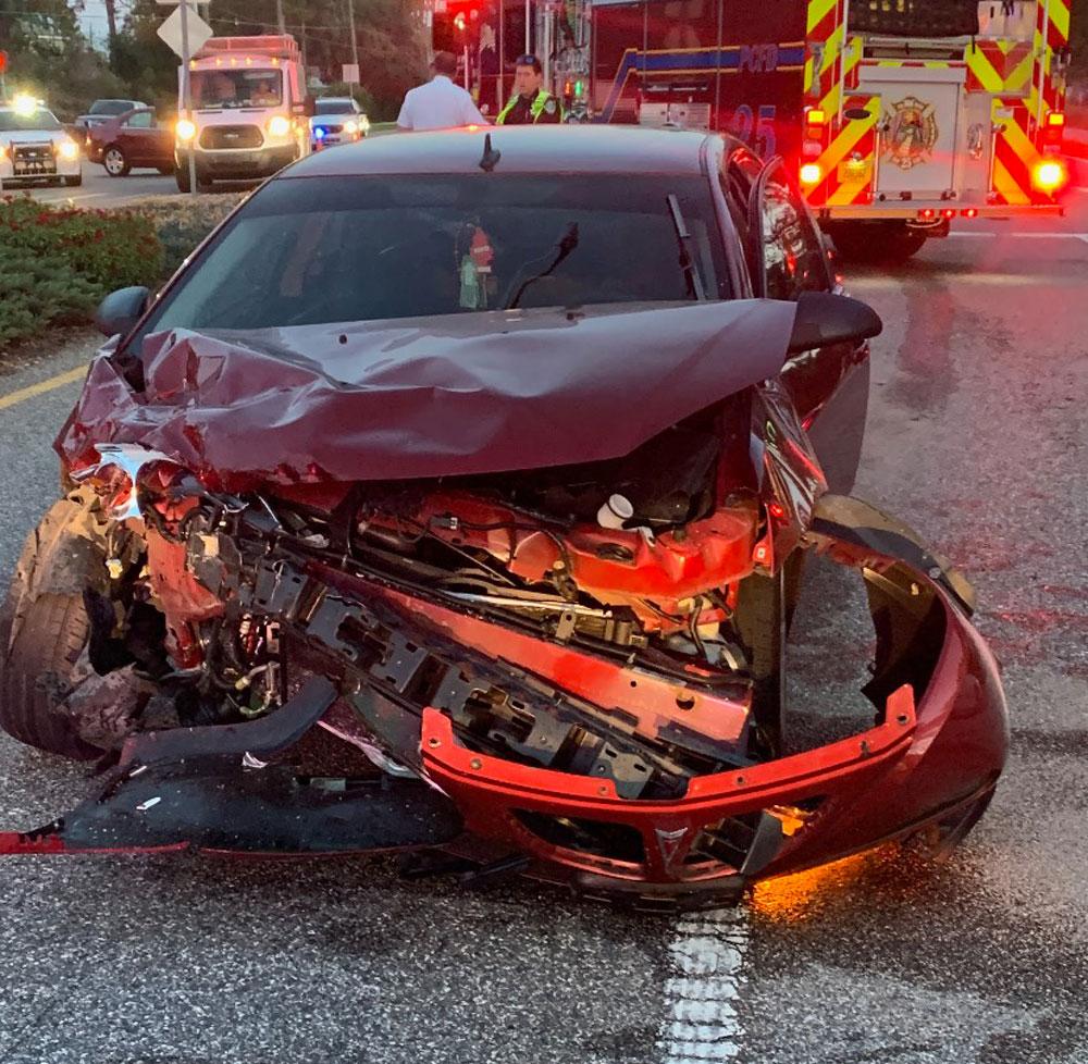 The Pontiac after the crash. (© FlaglerLive)