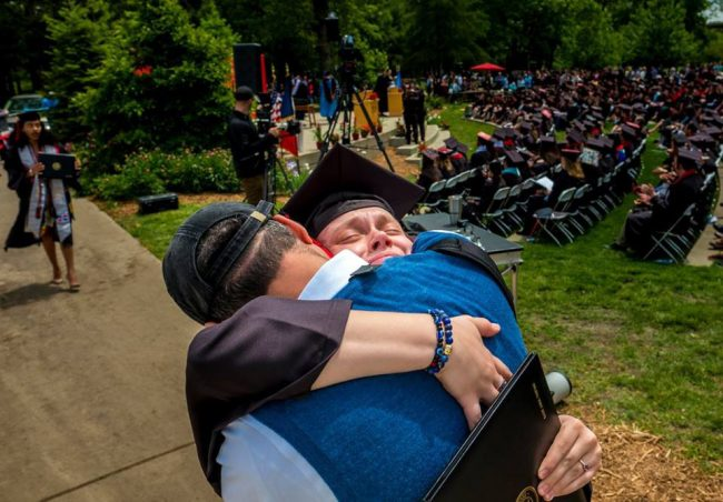 Grinnell College's Justin Hayworth took that picture just as Sadie walked off the stage after receiving her diploma. We were unaware. The picture then appeared on the college's Facebook page, and Sadie was told it would run in Grinnell's quarterly magazine. (Justin Hayworth)