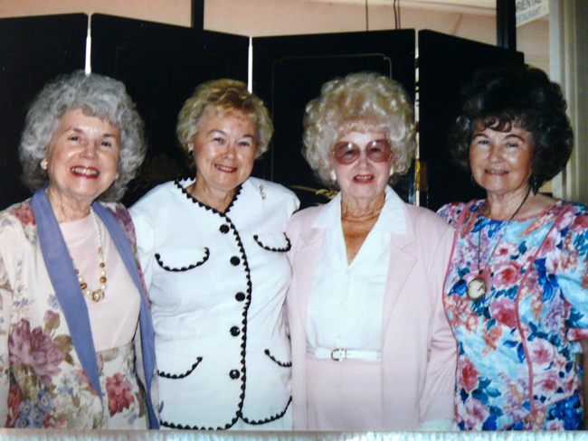 Bunnell's Sadie Strickland, with sunglasses, and her three daughters. From left, Wilda Hargett, Odell Clegg, and Chris Deal. (Courtesy of the Strickland family)