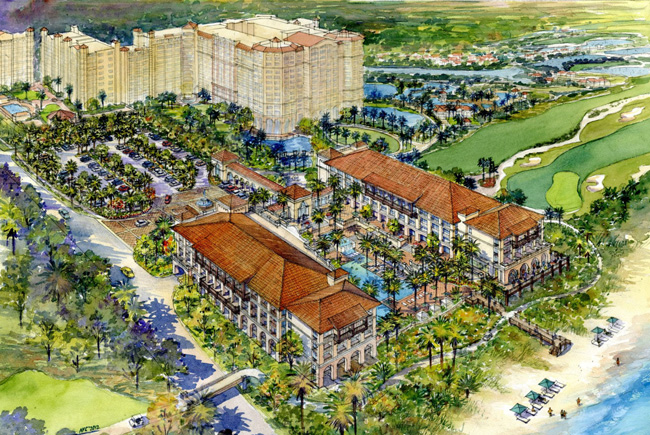Salamander's proposed redevelopment would entail building a twin-building hotel in place of a 20-room lodge at Hammock Beach Resort.