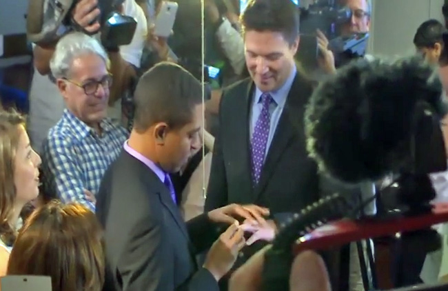 A screen capture from a video recording of today's same-sex wedding ceremonies in Miami-Dade.