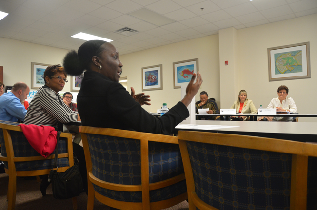Sandra Stubbs, one of the members of the school board's superintendent search committee, during Thursday's meeting of the panel. The meeting settled on the framework district staff and the committee will use to sort through candidates' applications. (c FlaglerLive)