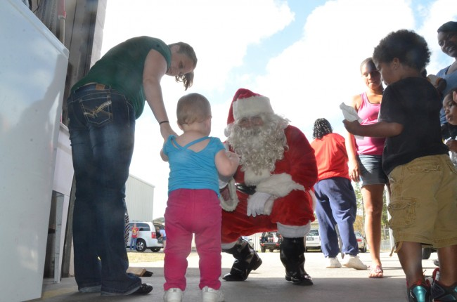 Santa arrives. Click on the image for larger view. (© FlaglerLive)