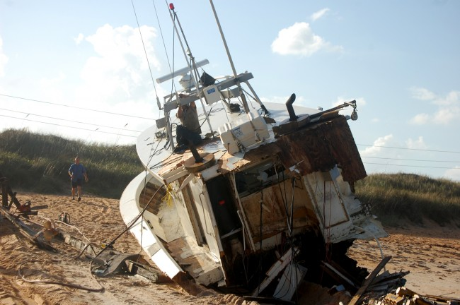 wrecked fishing vessel beached satisfaction