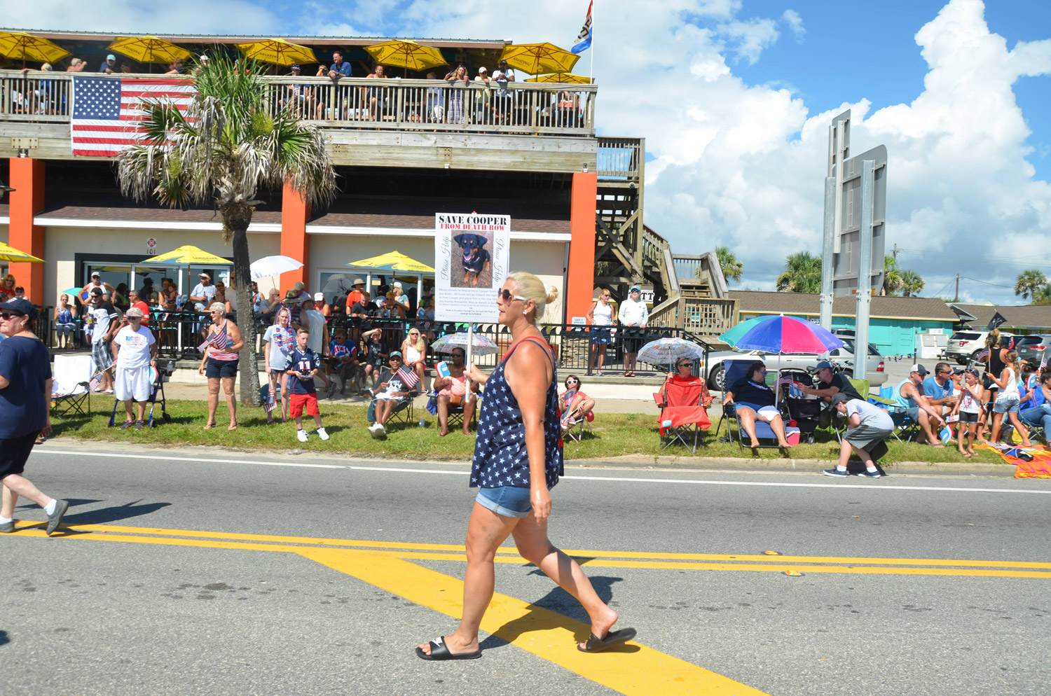 Cooper the dog has drawn a following from advocates who'd rather see the dog sent to a shelter for dangerous dogs on the state's west coast. They demonstrated on his behalf during Flagler Beach's July 4 parade. Click on the image for larger view. (© FlaglerLive)