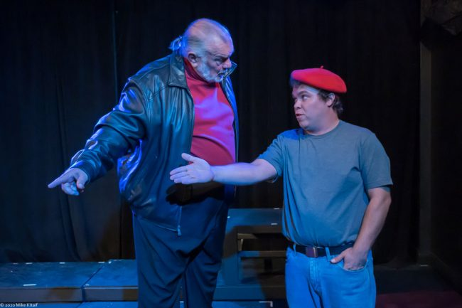 """City Rep director John Sbordone, left, will step onstage to portray Montague in the troupe's production of """"Romeo and Juliet."""" Here Montague has a few words with Benvolio, played by Beau Wade. (Mike Kitaif)"""