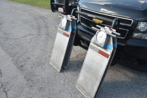 The portables scales FHP used to weigh the Waste Pro truck. The truck's weight was well below the permissible 64,000 pounds. (© FlaglerLive)
