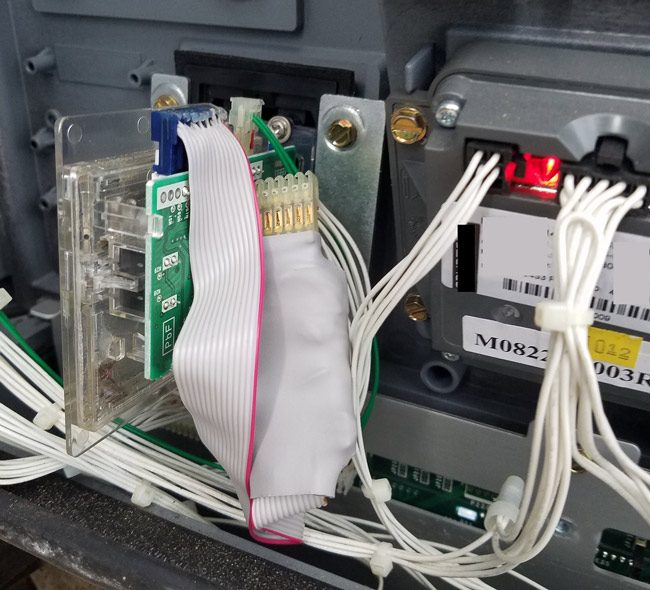 A skimming device at one of the four Palm Coast gas stations where skimmers were detected. (FCSO)