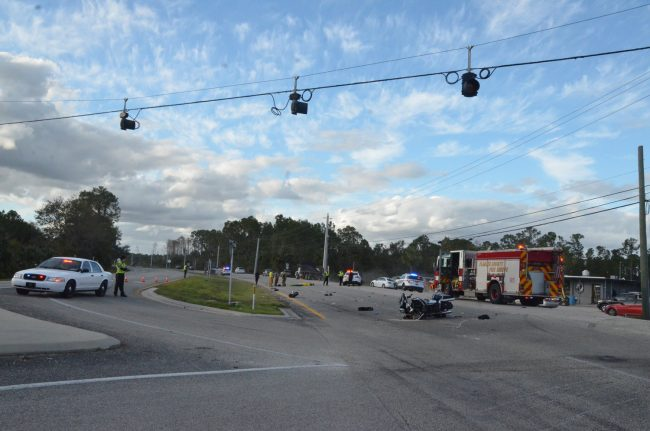 The scene of the crash looking north. Click on the image for larger view. (© FlaglerLive)