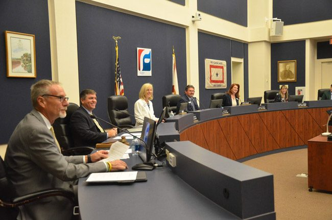 The Flagler County School Board can be all smiles. (© FlaglerLive)