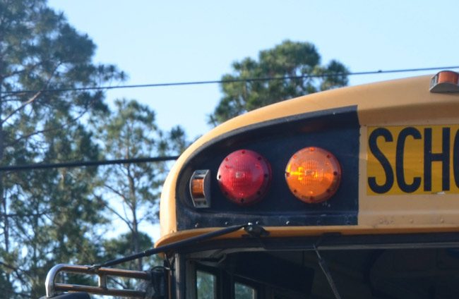 The incident developed on a school bus as it was delivering students in Palm Coast's R Section Tuesday afternoon. (© FlaglerLive)