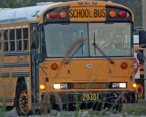 Flagler's school buses have been busy places. (© FlaglerLive)