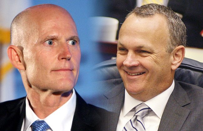 the bill could prove to be an inviting target for Gov. Rick Scott, left. It was pushed by House Speaker Richard Corcoran, a Land O' Lakes Republican who sparred with the governor throughout the session over economic-development incentives and tourism marketing. (Florida Politics)