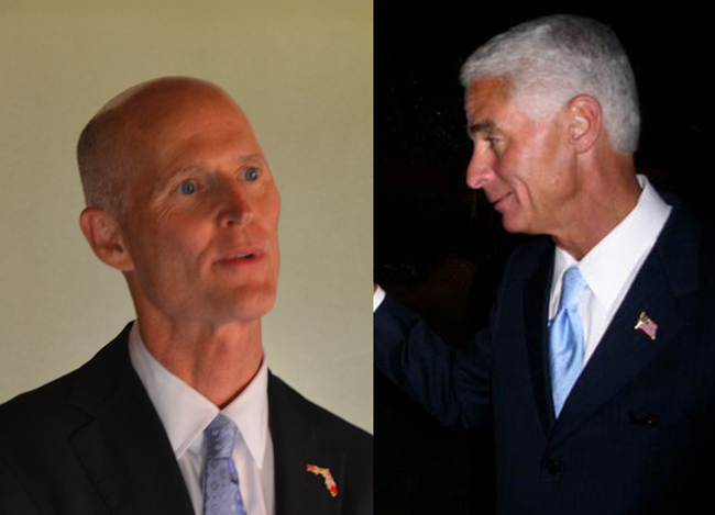 Gov. Rick Scott, left, is still not managing to dent Charlie Crist's popularity.