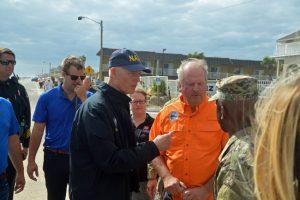 Gov. Rick Scott in Flagler Beach last week, with City Manager Larry Newsom. (© FlaglerLive)