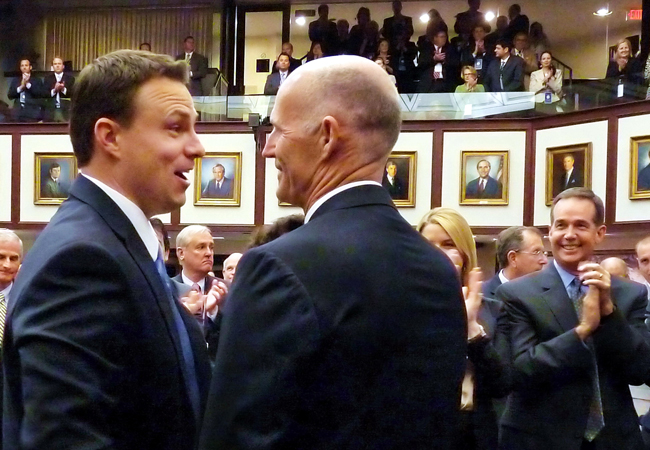 Aren't they lovely: Rick Scott congratulates Rep. Will Weatherford, R-Wesley Chapel, who'll be the Speaker of the House at the end of the 2012 session. (Mark Foley)