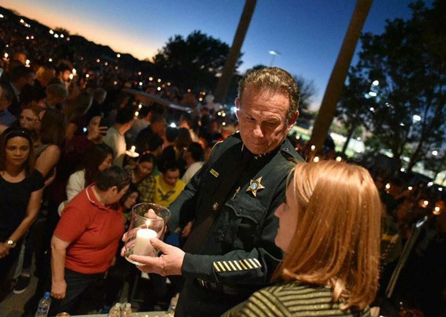 Sheriff Scott Israel at a vigil in February after the school massacre in Parkland that resulted in the death of 14 students and three faculty members. Israel has been criticized for his response to the shooting. (Facebook)