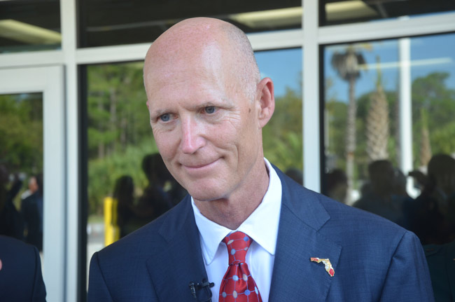 Governors usually leave foreign policy to Washington. But Gov. Scott, who is considering a run for Senate, may be making a pitch for Florida's Jewish vote by tapping into the constroversial debate about moving the American embassy from Tel Aviv to Jerusalem, in Israel, a move that could possibly lead to a violent reaction from Palestinians. (© FlaglerLive)