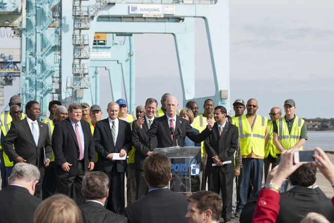 Gov. Rick Scott proposes to spend $200 million more than last year on infrastructure in the state. He announced the proposal at the Jacksonville port Monday. (Jaxport)