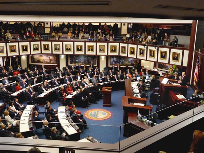 Gov. Rick Scott delivering a previous State of the State address. (Florida Memory)