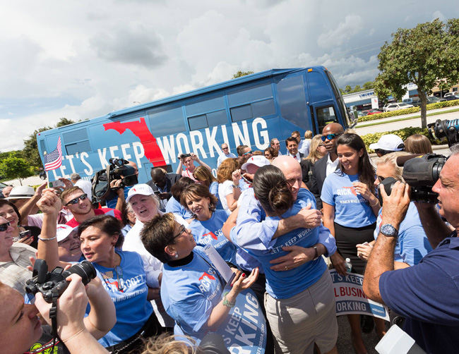Rick Scott during his latest campaign swing last week. (Facebook)