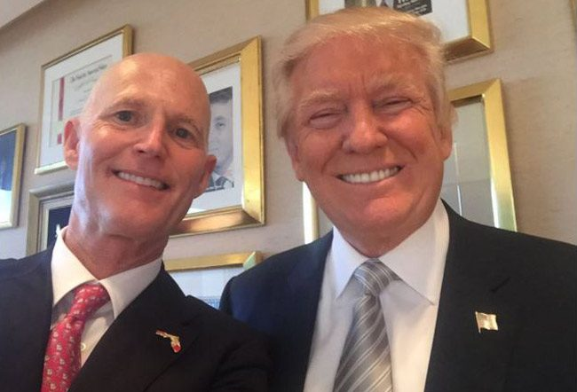 The selfie boys: Rick Scott and Donald Trump just before Trump became president.