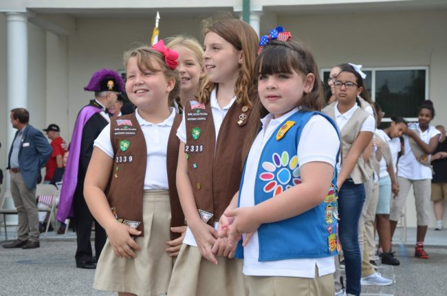 Girls from Flagler County Girl Scouts Troup 872, at this morning's ceremony in Bunnell. (© FlaglerLive)