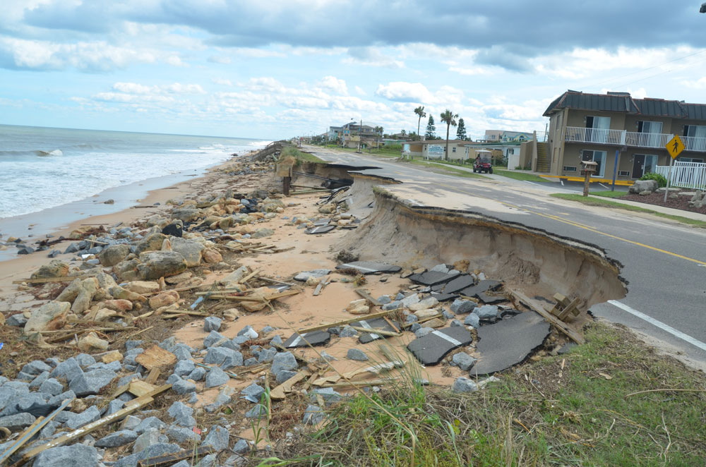 The repeat the county and Flagler Beach are trying to avoid: A1A south of the pier after Hurricane Matthew in October 2016. (© FlaglerLive)