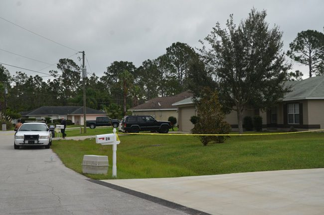 The scene at 28 Seaman Trail, where a shooting took place after midnight this morning. (c FlaglerLive)