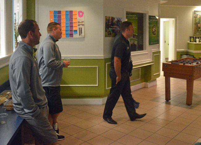 Sean Stern, left, during a soccer academy staff meeting with parents and students in Palm Coast last October. Ryan Maloney, then director of the academy, is to the right. (© FlaglerLive)
