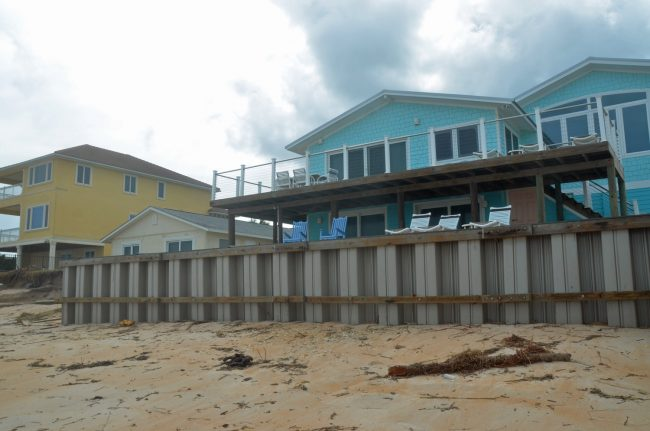 One of the properties that weren't as severely damaged in Painters Hill, thanks to its seawall. Click on the image for larger view. (© FlaglerLive)