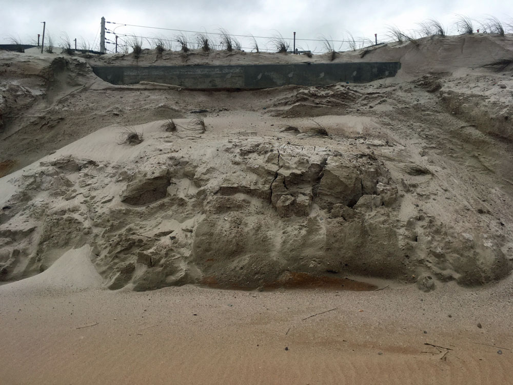 A newly exposed portion of the seawall. (© FlaglerLive)