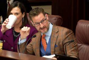 Sen. Greg Steube, a Sarasota Republican, won the day. (Click on the image for larger view. (© FlaglerLive via Florida Senate)