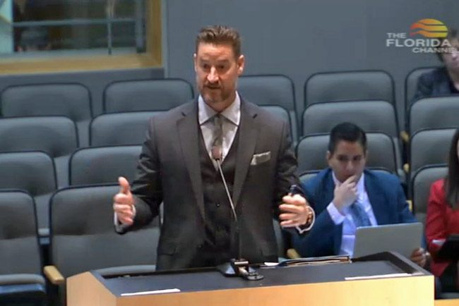 Sen. Greg Steube, the Sarasota Republican, presenting his bill this morning before the Senate Health Policy Committee. (Florida Channel)