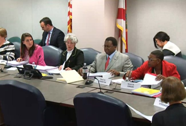 Members of the Joint Legislative Auditing Committee as they voted today. (FlaglerLive via Florida Channel)