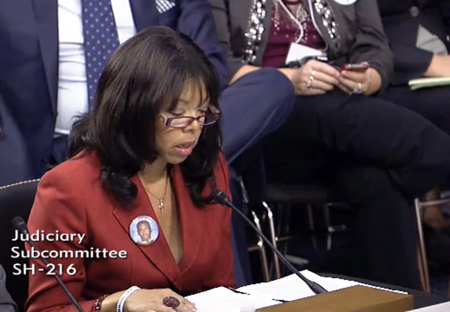 Lucia McBath, whose son, Jordan Russell Davis, 17, was killed while sitting in a car during a dispute over loud music in Jacksonville last fall, spoke to the Senate subcommittee Tuesday.