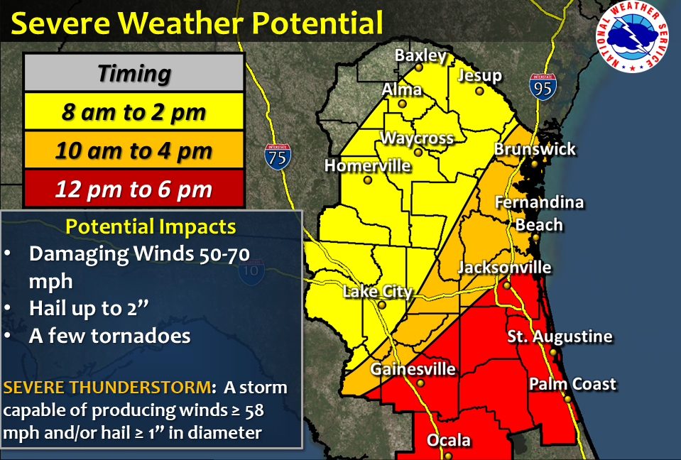 The National Weather Center's prediction for today projects a potential for severe and damaging weather onto the entirety of Flagler.