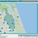 A map combining Flagler health department data on covid incidence with Palm Coast utility data from the sewer system's detection of the presence of covid in effluent.