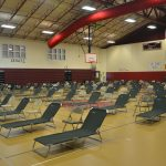 The special needs shelter at Rymfire Elementary school in Palm Coast ahead of Hurricane Irma in 2017. IOt'll have to be reconfigured, should it be needed, to accommodate for the precautions over Covid-19. (© FlaglerLive)