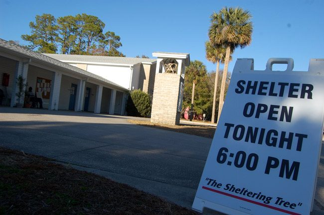 The Sheltering Tree, Flagler County's cold-weather shelter for the homeless at Bunnell's First Methodist Church, has been open every night the temperature has gone below 40 degrees. Nights will warm up after Wednesday. (© FlaglerLive)