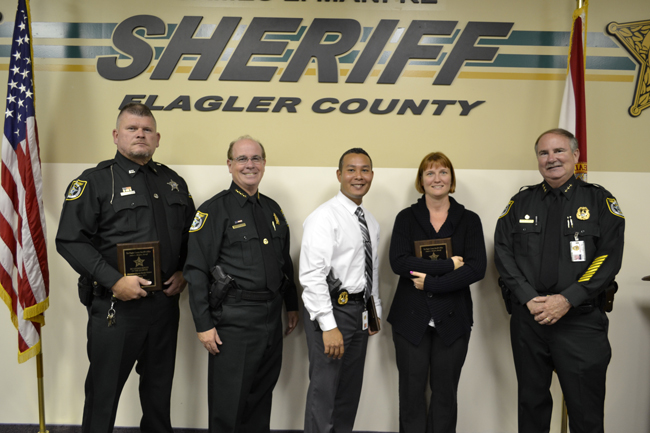 From left, Detention Deputy Randy Vickers,  Sheriff Jim Manfre, Det. Mark Moy, Communications Supervisor Genice Caccavale and Undersheriff Rick Staley. (FCSO)