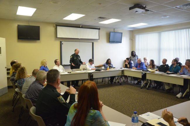 Sheriff Rick Staly addressing today's meeting on Stride at the jail's administrative building. Click on the image for larger view. (© FlaglerLive)