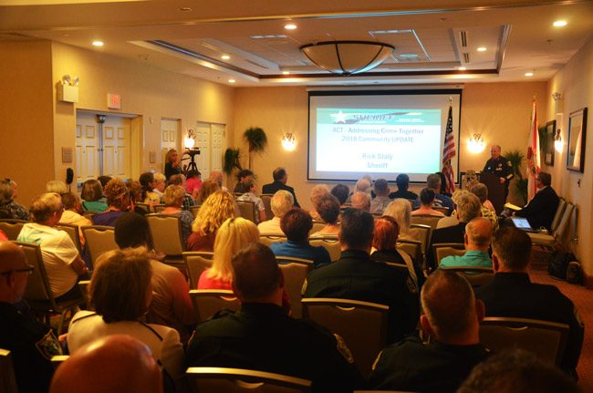 Some 75 people turned up at the Hilton garden Inn in Palm Coast Thursday afternoon to hear Sheriff Rick Staly's state of policing in Flagler in the first quarter of 2018. (© FlaglerLive)