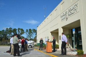 The sheriff's news conference this afternoon. Click on the image for larger view. (© FlaglerLive)